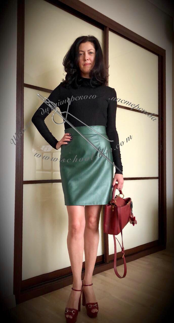 Прямая юбка из экокожи