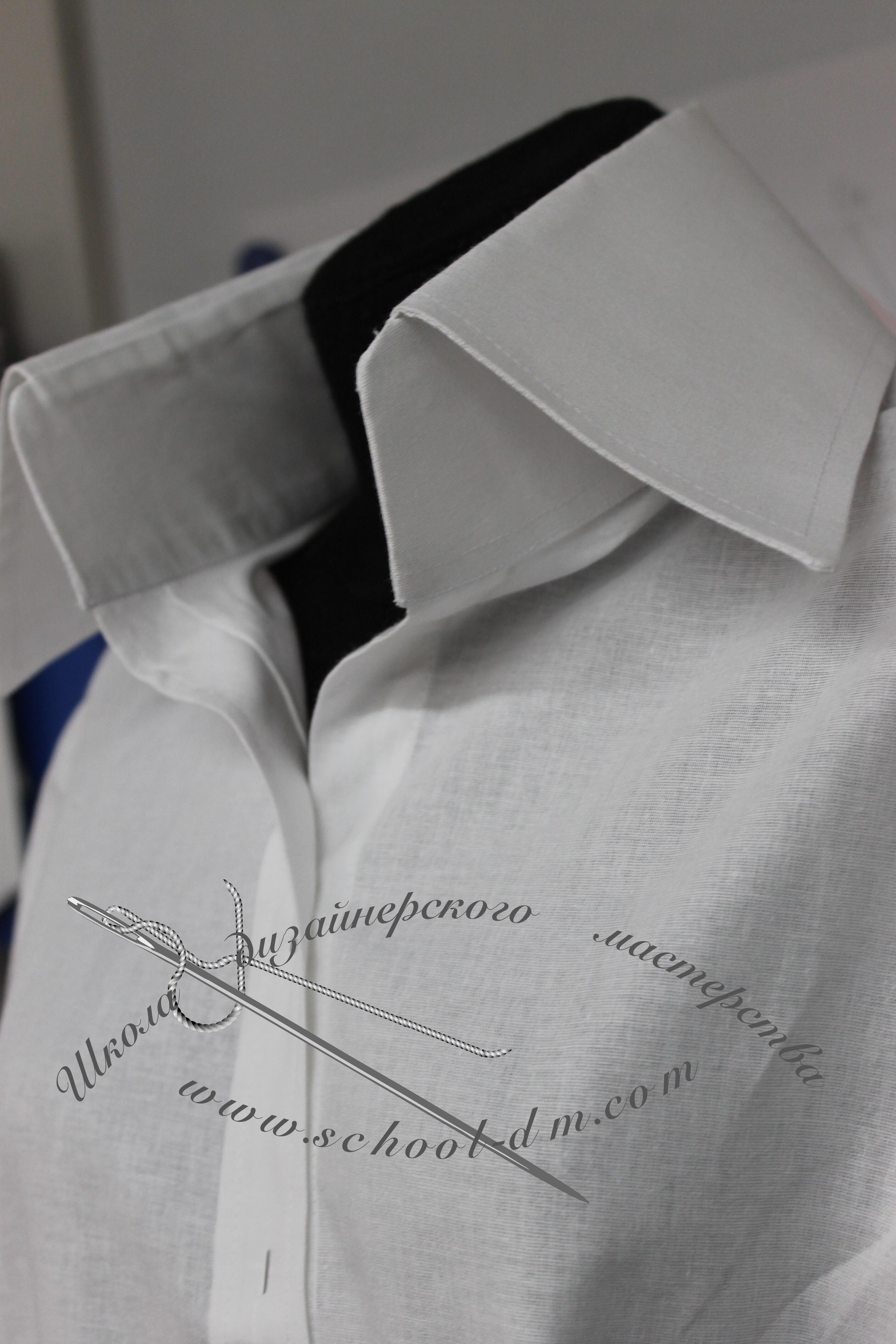 Шить рубашку, шить блузку, шить воротник, супатная застёжка, потайная застёжка, Школа дизайнерского мастерства